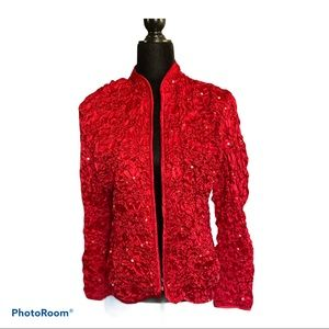 Cachet red Sequin jacket size large zipper